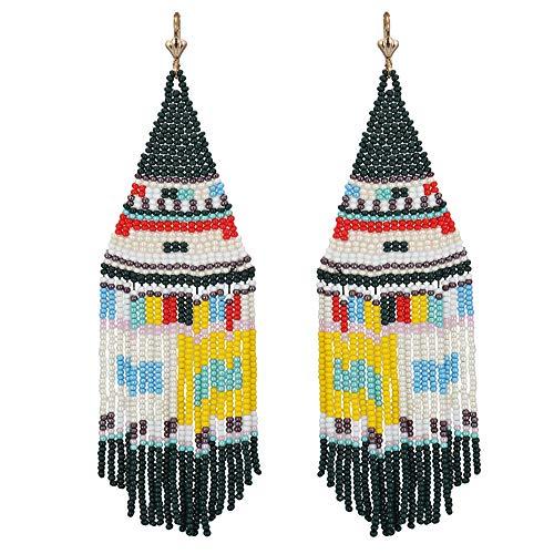 El Allure Seed Bead Native American Boho Patterned Fringe Trendy Handmade Preciosa Jablonex Seed Beaded Long Earring For Women. ()