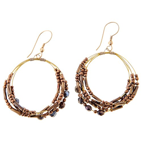 Sitara Collections SC5544 Amal Brass and Glass Beaded Hoop Earrings