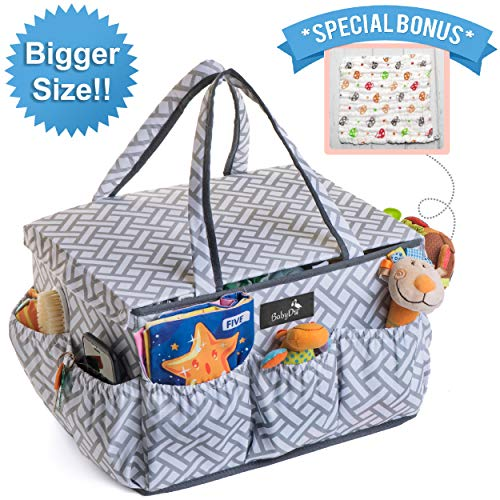 BabyDu Premium Diaper Caddy Organizer with Dust Cover, Large Nursery Travel Storage Bin, Portable and Washable Basket, Tote Bag for Diapers, Bottles, Wipes, Toys, Baby Shower Gift, w/Free Burp Cloth from BabyDu