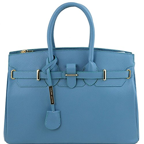 Tuscany Leather - TL Bag - Bolso a mano con detalles color oro - TL141529 (Rojo Lipstick) Light Blue