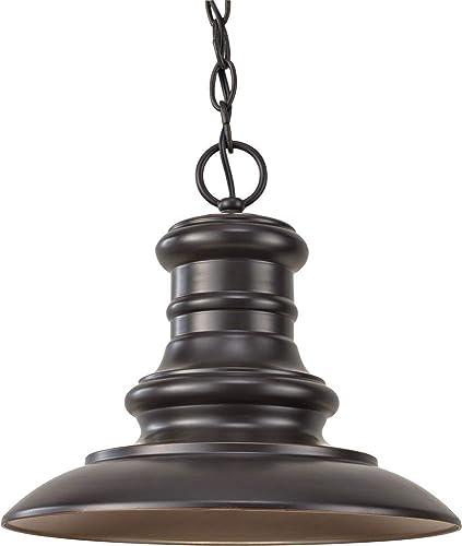 Feiss OL8904RSZ-LED Redding Station Outdoor LED Pendant Lighting Cast Aluminum, Restoration Bronze 1-Light 12 W x 11 H 14 Watts