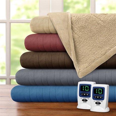 Beautyrest Solid Microlight/Berber Heated Blanket, Twin, Vanilla