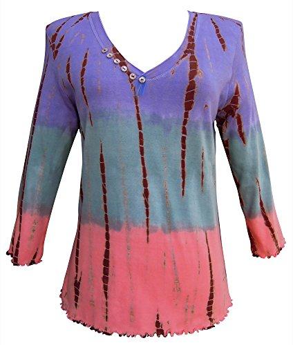 Nature Art Womens Asymmetric Color Block V Neck Top Tie Dye Shirt Tricolor ()