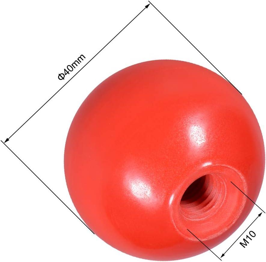 Black 1Pcs sourcing map Thermoset Ball Knob M8 Female Thread Machine Handle 35mm Diameter Smooth Rim Red 1Pcs