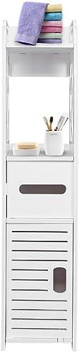 SSLine White Narrow Toilet Side Storage Organizer Bathroom Corner Floor Stand Cabinet Compact Toilet Tissue Roll Paper Storage Tower Shelf Waterproof Bathroom Linen Cabinet with Doors and Shelves