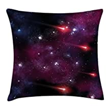 Space Throw Pillow Cushion Cover by Ambesonne, Four Comet on the Sky Stardust Meteor Shower Magical Wish Halo Scenery, Decorative Square Accent Pillow Case, 18 X18 Inches, Magenta Blue