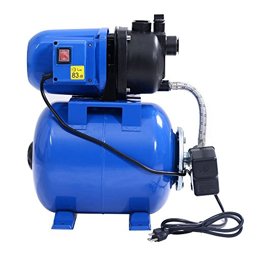 Goplus 1.6HP Shallow Well Pump & Tank Garden Water Pump Jet Pressurized Home Irrigation 1000GPH, 1200W (Blue)