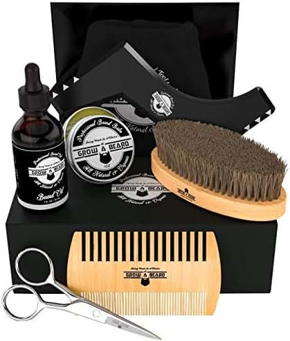 Beard Kit 6-in-1 Grooming Tool | Best Mustache & Beard Care Set For Men | Natural Balm, Unscented Oil, Boar Bristle Brush, Wood Comb, Trimming Scissors, Shaper Template | Great GENTLEMEN'S Gift