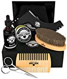 Beard Kit 6-in-1 Grooming Tool | Best Mustache & Beard Care Set For Men | Natural Balm, Unscented Oil, Boar Bristle Brush, Wood Comb, Trimming Scissors, Shaper Template | Great Christmas Gift