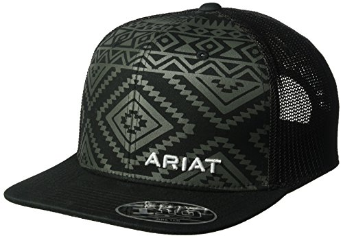 ARIAT Men's Aztec Black Flat Bill Cap