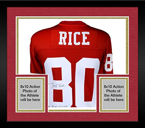 e0c82c68993 Framed Jerry Rice San Francisco 49ers Autographed Red Mitchell ...