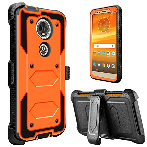 Moto E5 Plus Case, Moto E5 Supra Case, lovpec [Holster Series] Full Body Heavy Duty Shockproof Protective Case Cover with Kickstand and Belt Swivel Clip for Motorola Moto E Plus (5th Gen) (Orange)