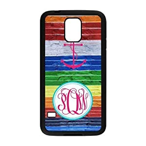 Pink Circle Monogram And Anchor With Imitation Wood Grain Rainbow Background luxury For Case Iphone 6 4.7inch Cover(Black)ALL MY DREAMS