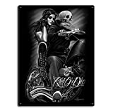 DGA Day of the Dead Ride or Die Motorcycle Biker Babe Tin Metal Sign 12x16 Inches