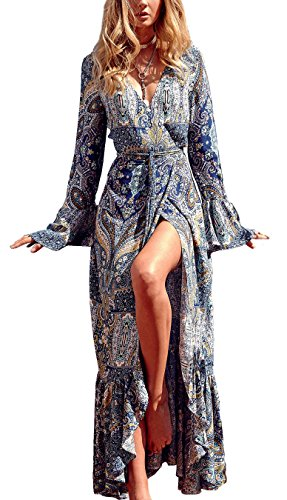 R.Vivimos Womens Summer Long Sleeve Cardigan Sexy Maxi Dresses (Medium, Multicolor-Blue)