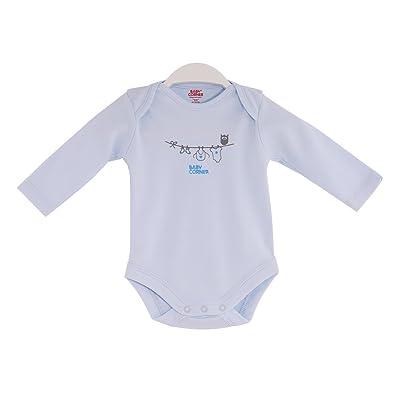 Bébé d'angle coton imprimé chouettes Body à manches longues pour fille (3–6mois, Bleu)