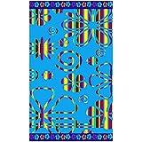 Serviette de plage en coton égyptien Tropical Flowers - velours - bleu