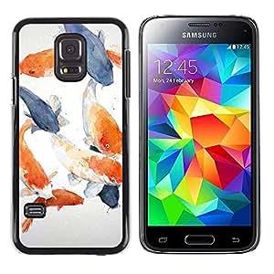 Paccase / SLIM PC / Aliminium Casa Carcasa Funda Case Cover para - Fish White Blue Orange Grey - Samsung Galaxy S5 Mini, SM-G800, NOT S5 REGULAR!