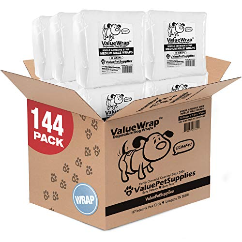 ValueWrap Disposable Male Dog Diapers, 1-Tab Medium, 144 Count - Absorbent Male Wraps for Incontinence, Excitable Urination & Travel | Fur-Friendly Fastener | Leak Protection | Wetness Indicator