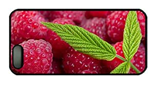 Hipster iphone 5S cover the best Red raspberry berries green leaves PC Black for Apple iPhone 5/5S