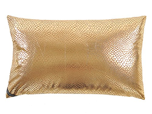 SurCozy Luxury Snake Skin Pattern Metallic Throw Pillow Case, Gold/Silver Soft Faux Suede Cushion Cover (Golden, 12