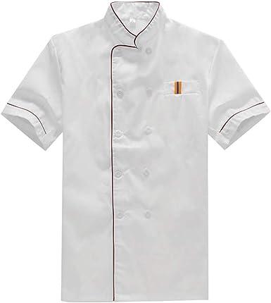 BESTONZON Chemise de Chef /à Manches Courtes Chemise de Traiteur Uniforme pour Le Chef du Restaurant de la Boulangerie Blanc