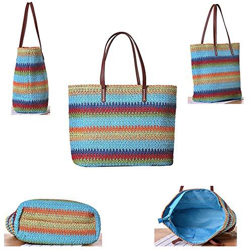 Abuyall Women Colorful Stripe Summer Bag Crocodile Drawstring Zip Tassel Straw Handbag Pt6