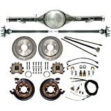 NEW CURRIE 70-87 CHEVY C-10 GMC C-15 C1500 TRUCK 2WD 6-LUG REAR END WITH DRILLED DISC BRAKES, BRAKE LINES, PARKING BRAKE CABLES, AXLES & BEARINGS, CHEVROLET C10 C15 1981 1982 1983 1984