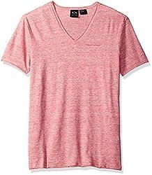 A|X Armani Exchange Men's Cotton Linen Vneck Tee, LT Grey, Medium