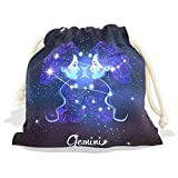 Constellation Zodiac Sign Gemini Velvet Drawstring Gift Bag Wrap Present Pouches Favor for Jewelry, Coin, Holiday, Birthday, Party, 8X12.6 Inches