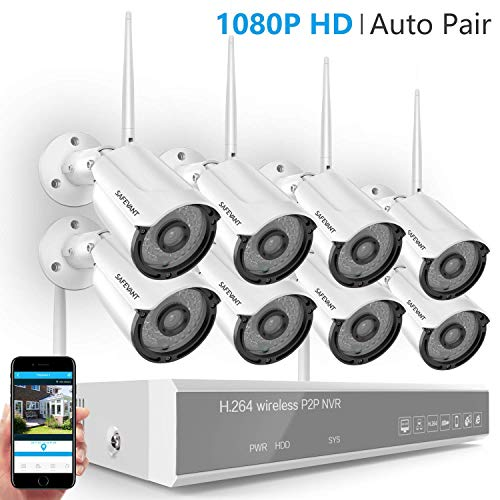 [Full HD] Security Camera System Wireless,Safevant 8CH 1080P Home Security Camera System(NO Hard Drive),8PCS 1080P Inddor/Outdoor IP66 Wireless Security Cameras,Auto Pair,Plug&Play,No Monthly Fee
