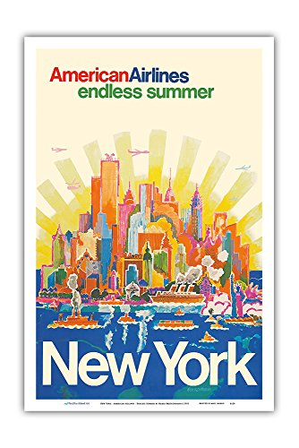 New York - American Airlines - Endless Summer - Vintage Airline Travel Poster by Harry Bertschmann c.1971 - Master Art Print - 12in x 18in