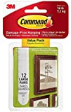 Command 3M 12ct Pack Picture & Frame Hanging Strips Sets Large Size White Damage-Free