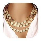 Molyveva Stylish Layered Sequins Choker Necklace Vintage Tassel Collars Openwork Bib Statement Jewelry (Gold)