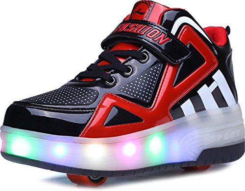 (UBELLA Boys Girls High-Top LED Light Up Double Wheels Roller Sneakers Skate)