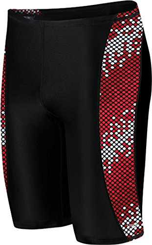 - Speedo Men's Endurance+ Razor Dot Jammer Swimsuit, Red, 28