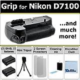 Multi Power Professional D7100 + D7200 Multi Purpose Battery Grip for Nikon D7100 DSLR Camera + 2 EN-EL15 Long Life Batteries + Complete Deluxe Starter Kit (MB-D15 MBD15)