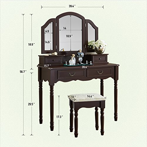 Fineboard FB-VT06-BNV Elegant Vanity Set Makeup Dressing Table with 3 Mirrors and Stool, 4 Drawers, Brown