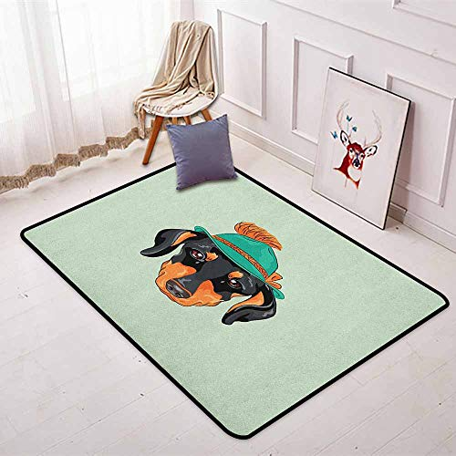 (Dachshund Non-Slip Absorbent Carpet Hipster Pure Breed Dog Silhouette in a Green Tyrolean Hat Cute Dachshund Puppy for Floor Carpets W47.2 x L63 Inch Multicolor)