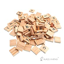 Raylinedo® 200X Wooden Scrabble Tiles Letter Alphabet Scrabbles Number Crafts English Words LOWERCASE MIXED