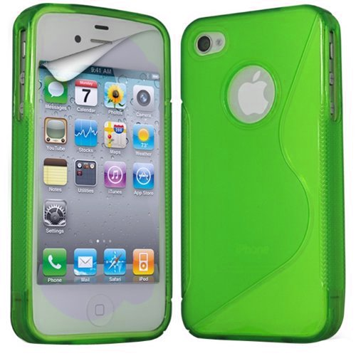 (Grün) Apple iPhone 4 Schutzhülle S-Line Wave Gel Case Cover Skin & LCD Screen Protector Guard von Spyrox