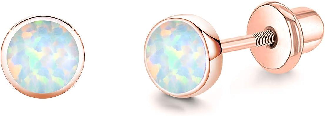 Tiny Opal Zircon Gold Stud Earrings For Women 925 Silver Opal Birthday Studs Earring October Birthstone Zodiac Jewelry
