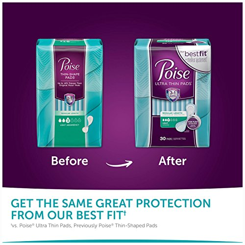 Poise Ultra Thin Incontinence Pads, Light Absorbency, Unscented, Regular (30 Count) (Pack of 4) by Poise (Image #7)