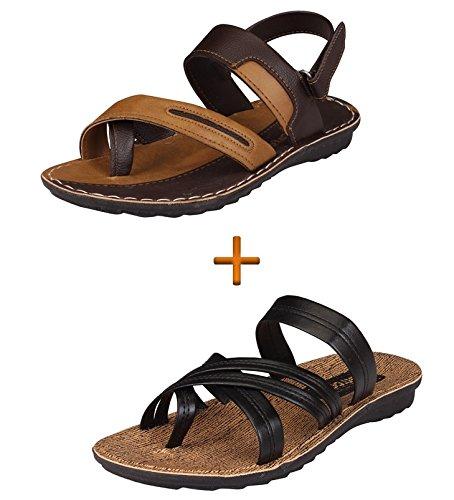 Tempo Mens Brown Pack Of Sandal & Slipper(8)