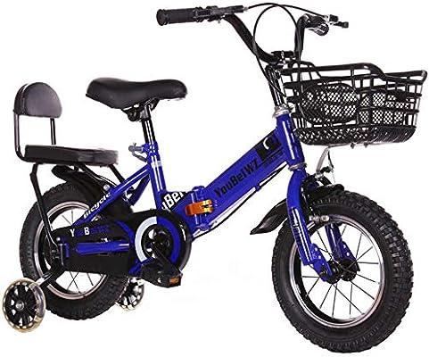 YWZQ Bicicleta para niños, Marco Plegable Alto Acero Carbono Neumáticos Antideslizantes Resistentes al Desgaste Frenos Dobles Seguros y sensibles Bicicleta Ajustable para niños Regalos,Azul,14: Amazon.es: Hogar