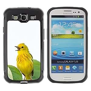 Fuerte Suave TPU GEL Caso Carcasa de Protección Funda para Samsung Galaxy S3 I9300 / Business Style yellow spring bird leaves songbird