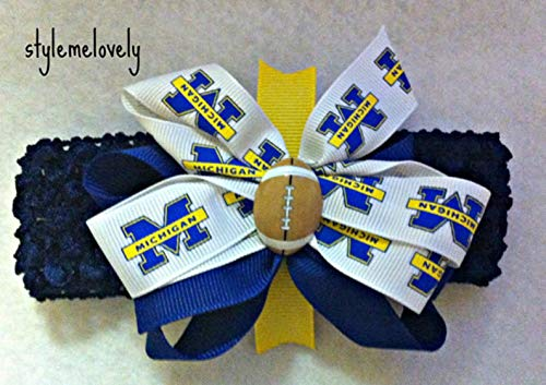Michigan Wolverines Baby Girl Boutique Bow Crocheted Headband, Fits Newborn- Adult