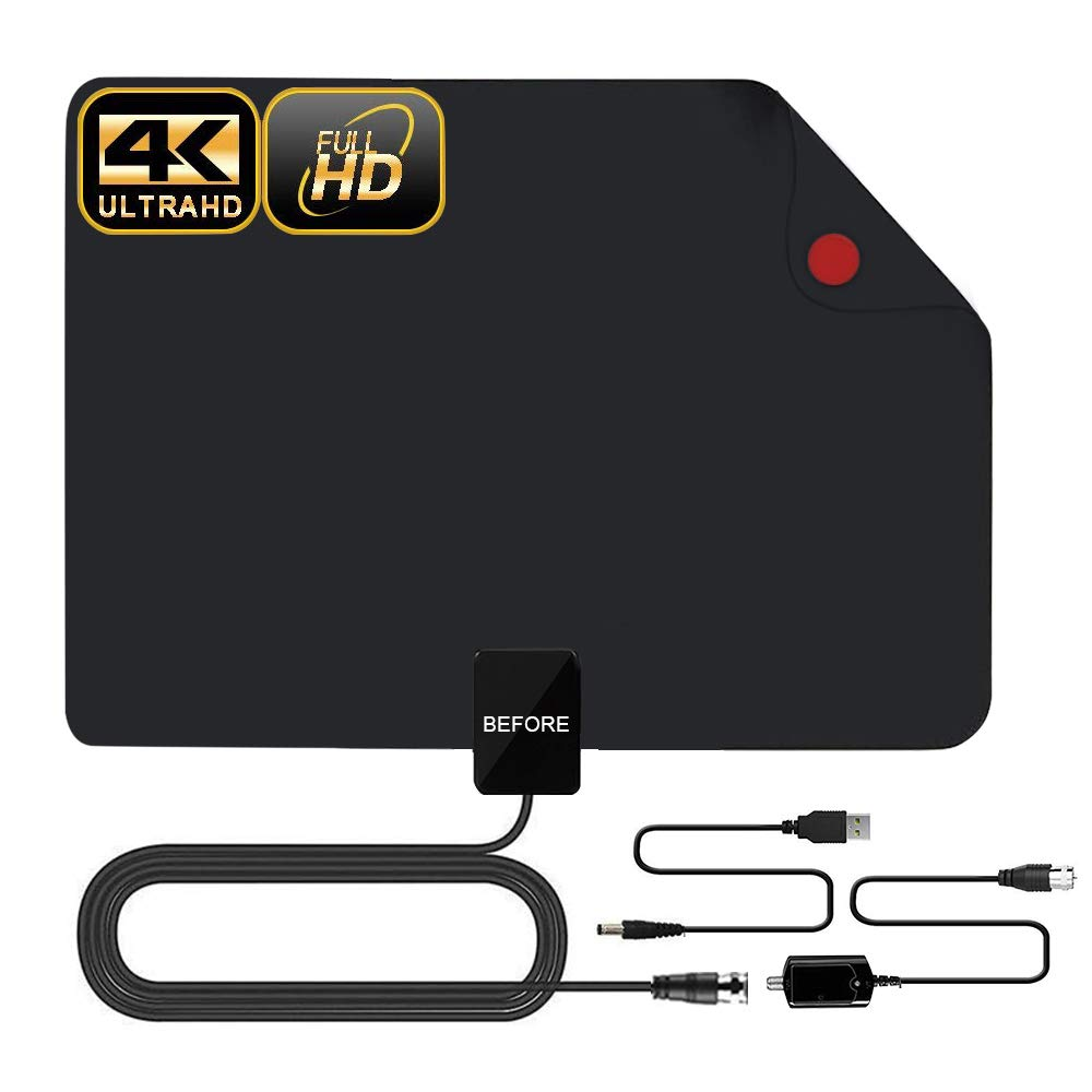 HDTV Antenna, 2019 New Indoor Digital TV Antenna 60-90 Miles Range, Amplifier Signal Booster Support 4K 1080P UHF VHF Freeview HDTV Channels-Support All Television by BEFORE