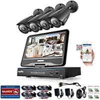 Sannce 8CH 1080N HD Security DVR Recorder Hybrid HVR NVR DVR All In One with Build in 10.1 LCD Monitor and 1TB Hard Drive and (4) 960P Outdoor Fixed CCTV Camera, Smart IR-CUT, 100ft Night Vision