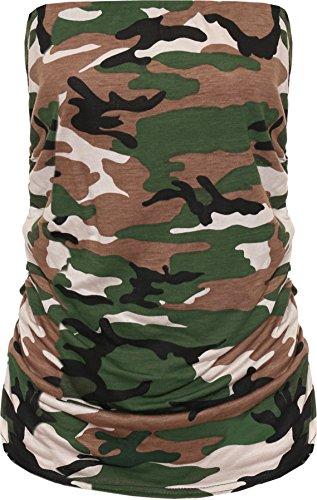 WearAll Women's Animal Print Long Boob Tube Bandeau Sleeveless Top - Camouflage - US 20-22 (UK 24-26)